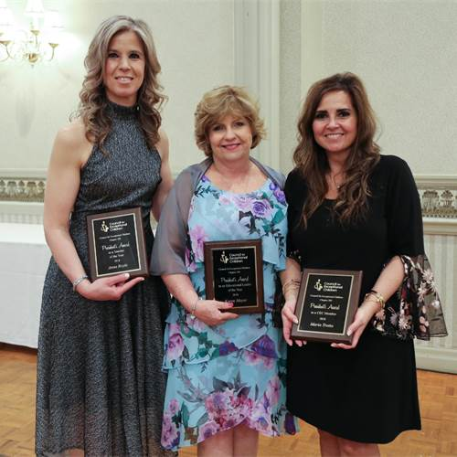 "From left to right, Anna Boyle, Karen Moyer and Maria Trotta were presented with the President's Award to Teacher of the Year, President's Award to a CEC Member, and President's Award to an Educational Leader, respectively, at the Council for Exceptional Children's annual ""Yes I Can"" Awards Dinner on May 10. Photo by Jenna Madalena."